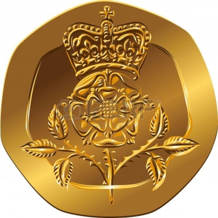 Moneda británica de oro Invertir el dinero veinte peniques con la imagen de la Coronada flor rosa (Rosa Tudor - el emblema de Inglaterra) Foto de archivo