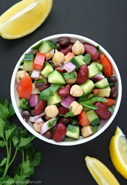 Mediterranean Three Bean Salad - The Garden Grazer