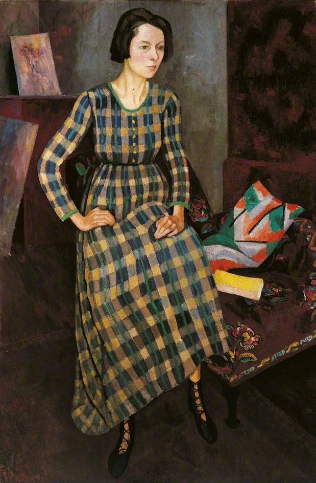 Nina Hamnett painted by Roger Fry, 1917, in a dress designed by Vanessa Bell and made at the Omega Workshops.