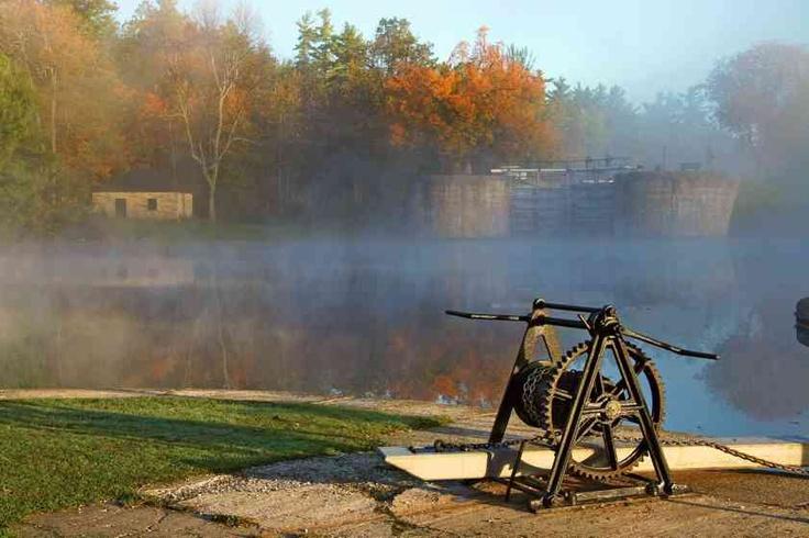 Autumn mist at Jones Falls on the Rideau Canal