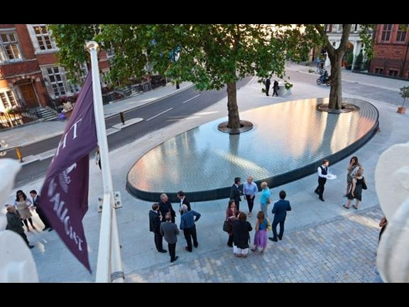 'Silence' water feature by Japanese architect Tadao Ando in Mount Street, Mayfair London. Pinned to Garden Design -Water Features by Darin Bradbury.