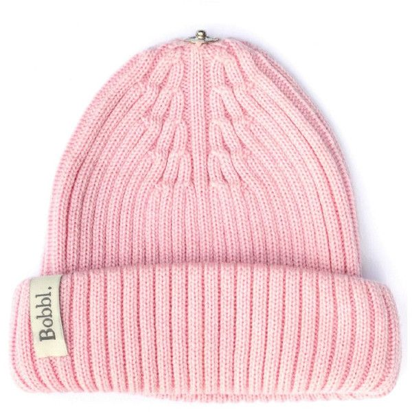 BOBBL Bobbl Knitted Hat - Pale Pink (£50) ❤ liked on Polyvore featuring accessories, hats, pale pink, fur hat, fur pom-pom hats, fur bobble hat, pompom hat and snap hat