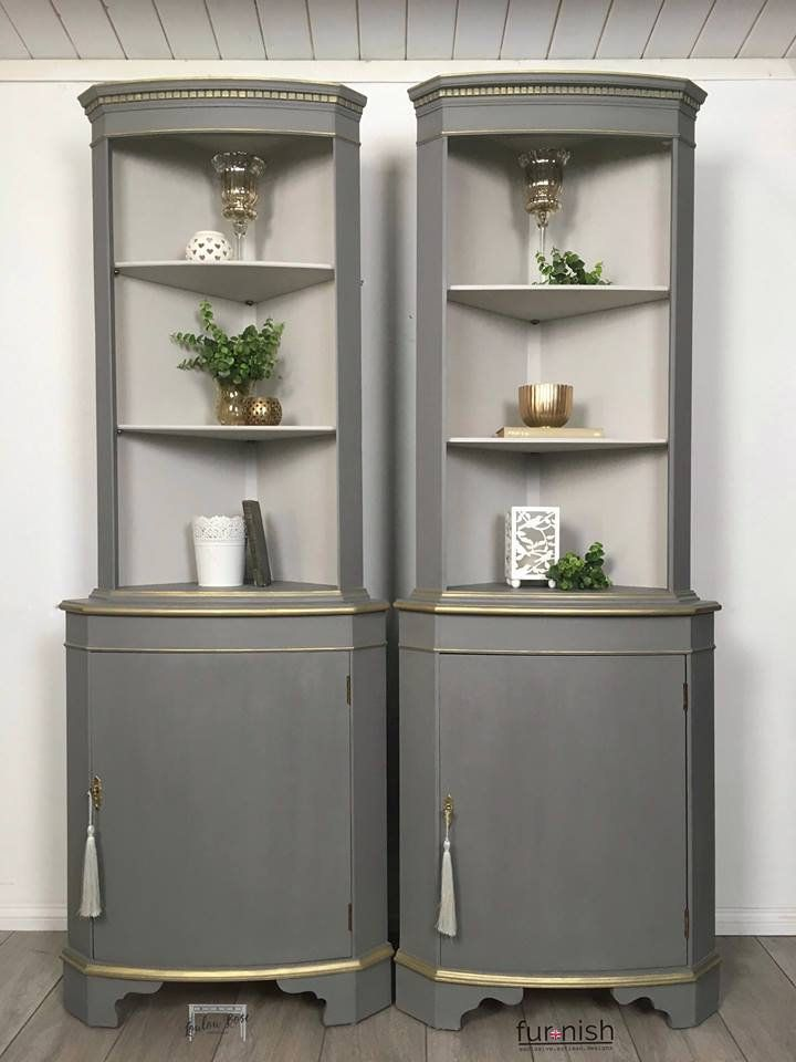 Pair Of Grey And Gold Painted Corner Cabinets Perfect Display Units Or Storage For Dining O Corner Cabinet Living Room Corner Furniture Painted Corner Cabinet