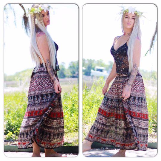 Sale M L Vintage clothing, Hippie skirt, India print maxi skirt, Boho tribal maxi skirt, music festival, True rebel clothing