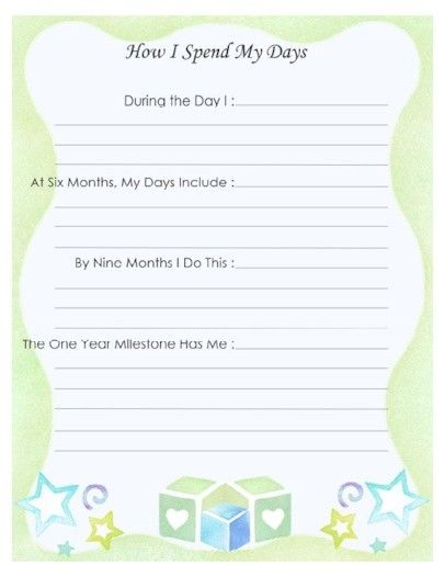 Baby Book Cover Page Ideas ~ Free printable baby book page quot how i spend my days