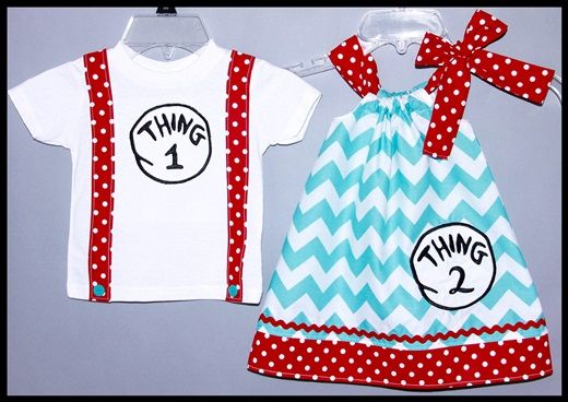 Super Cute Dr.Seuss Applique Brother Sister or Twin set Dress and Tie Tee Aqua Chevron and Red