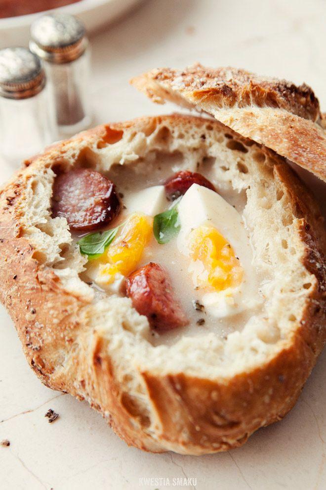 Żurek - Polish Sour Rye Soup w/ Eggs & Kiełbasa