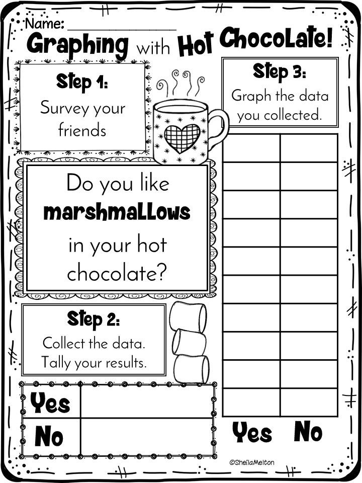 Polar Express graphing with hot chocolate. Do You Like Marshmallows? Students survey friends, tally results and graph data. Perfect for Polar Express activities!