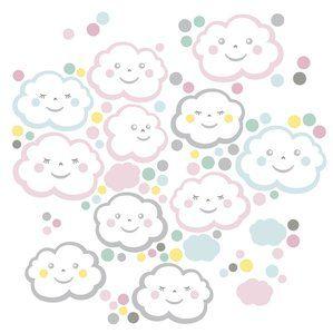 Kinderzimmer Wandsticker Wolkenkinder rosa/bunt 93teilig