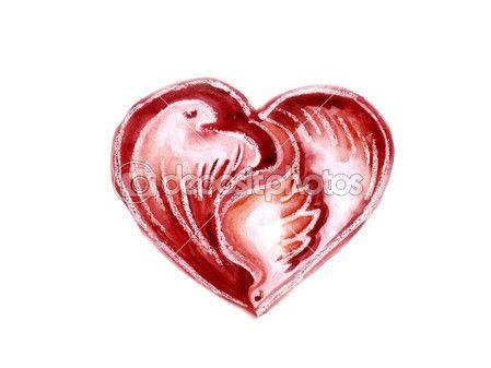 Aquarel hart met duiven