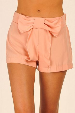 Necessary Clothing Wonderland Bow Shorts - Peach