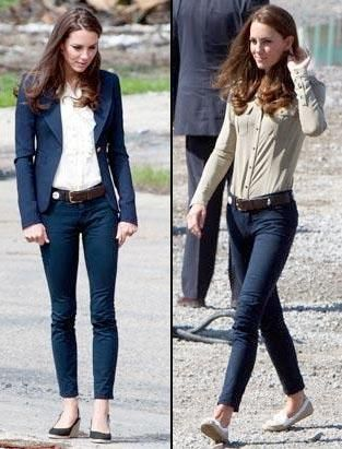 Love the shirts tucked in the jeans, and the navy blazer with white blouse