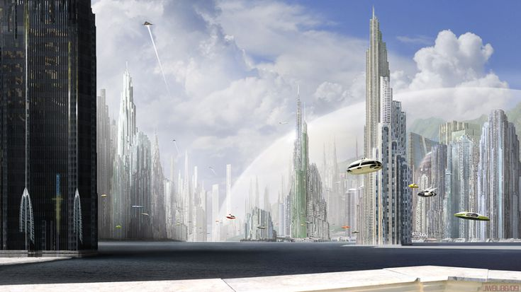 Futuristic cityscape with spaceships