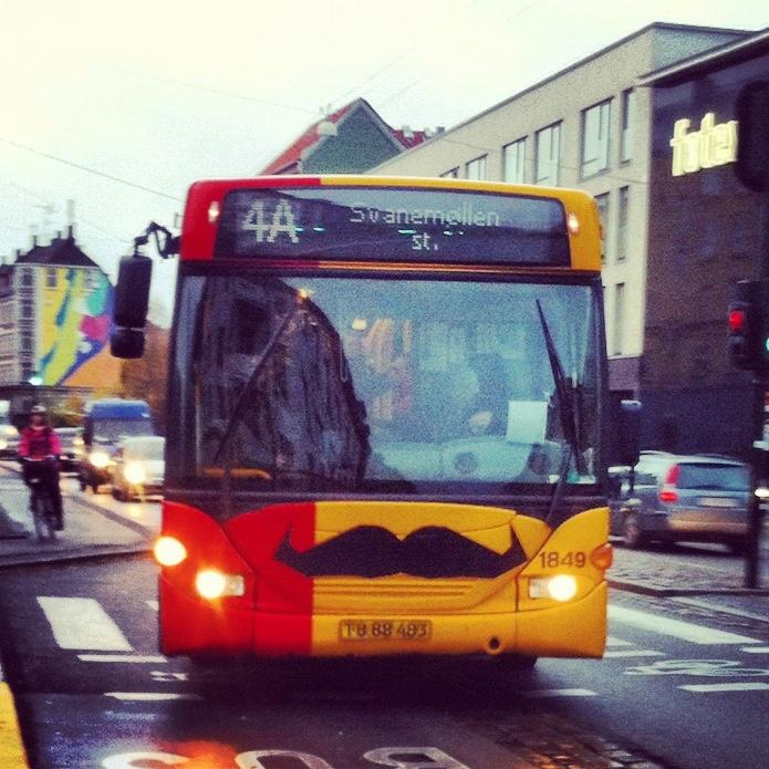 Busses in Copenhagen dressed up for Movember