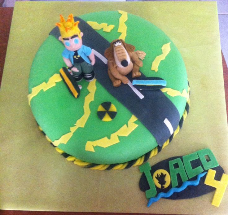 Johnny test cake, torta decoración azúcar, johnny test modelado.