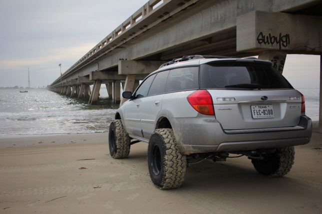 Saul Sanchez's lifted Subaru Outback.