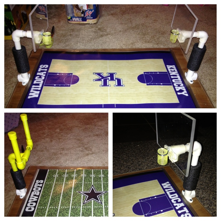Homemade Basketball Court And Football For Sports Figures