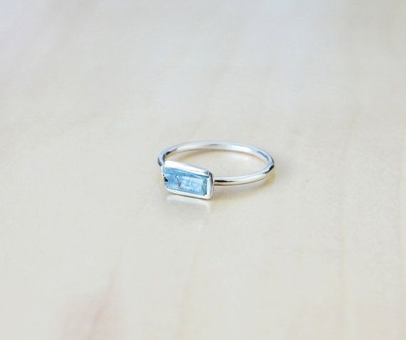 Sterling Silver Rough Aquamarine Ring   Raw Aquamarine Gemstone  March Birthstone - Pisces & Aries  Stacking Ring  Bohemian  Boho Dainty