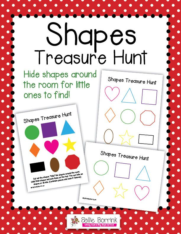 FREE Shapes Treasure Hunt – Hide and seek game with colors and shapes for toddlers and preschoolers