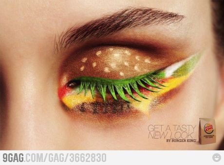 How psycho is this hamburger eye shadow! Props for the idea though.