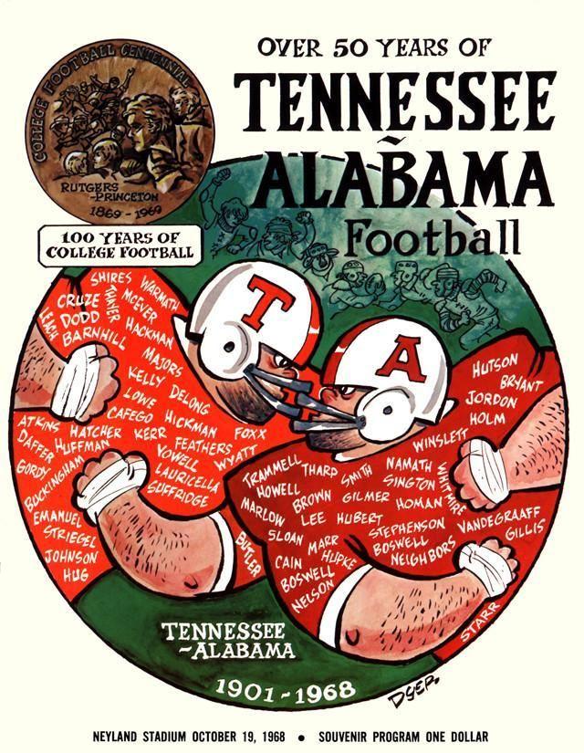 1969 Tennessee Volunteers vs Alabama Crimson Tide 30x40