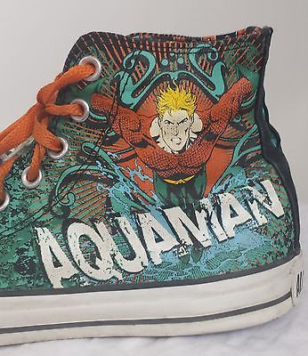 Converse Chuck Taylor All Star Hi-Top Shoes DC Comic Aquaman Men 8 Women 10
