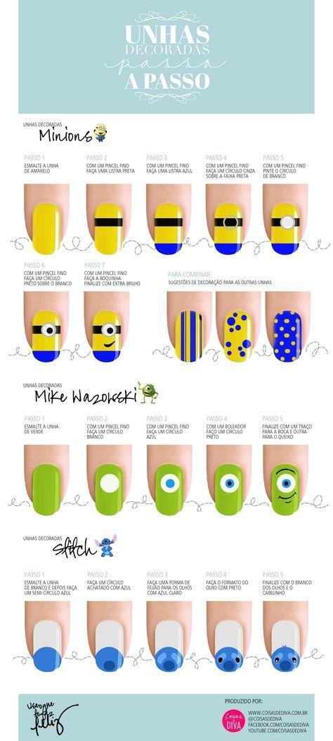 Passo a passo simples de como fazer unhas decoradas com personagens fofos! - www.coisasdediva.com.br