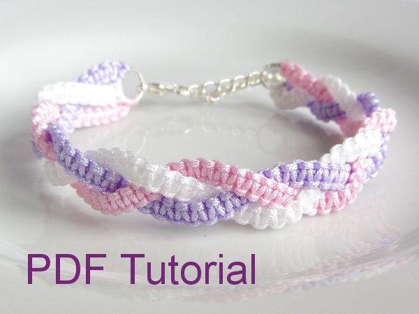 PDF Tutorial trenzado nudo Macrame pulsera por purplewyvernjewels
