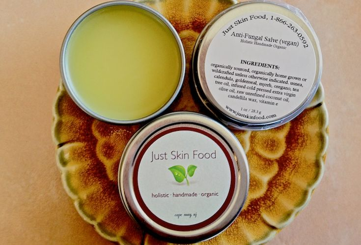 Anti-Fungal Salve (vegan) - An excellent salve to fight off any skin fungal infection, skin ulcers, athletes foot, ringworm, toe and nail fungus and any itchy type of fungal infection. This formula provides nourishing and healing properties to the skin and nails. - This anti-fungal salve promotes healing of fungal related issues such as athleteÍs foot, jockey itch, nail fungus, and any form of fungus. - http://www.justskinfood.com/antifungal-salve.html