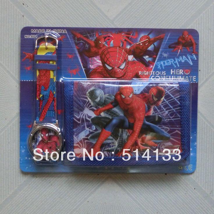 Человек-паук 3 sets часы, новые моды кожаные часы, мультфильм смотреть высококачественные часы + кошелек кошельки
