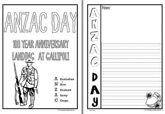 ANZAC Day   Writing Template  14mm Lines. PAGE SELECTION: A HALF PAGE lined black and white writing template including a title page and poster. Suitable for an ANZAC Day study.