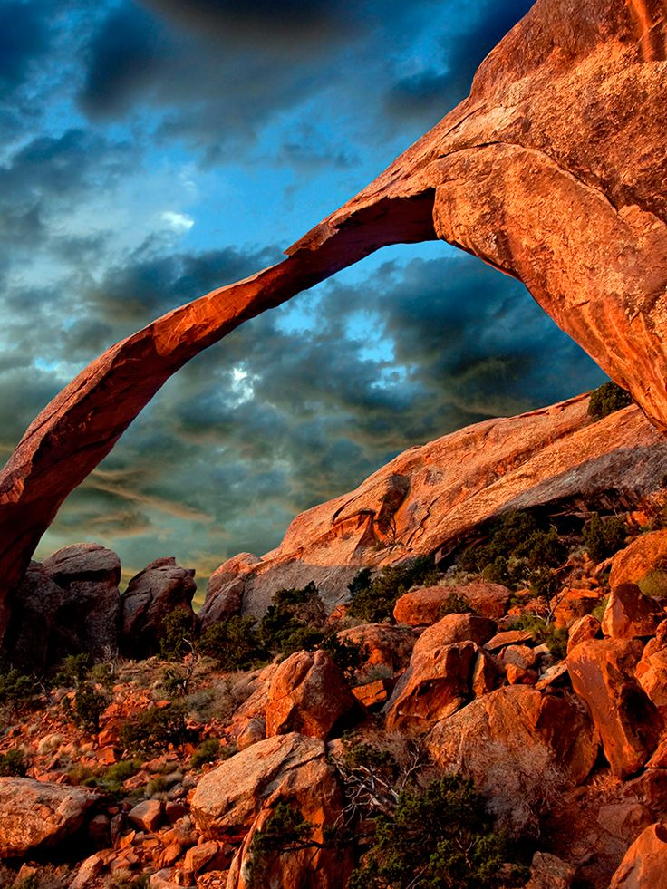 Landscape Arch in Arches National Park, Utah is the longest natural arch in the world #Utah