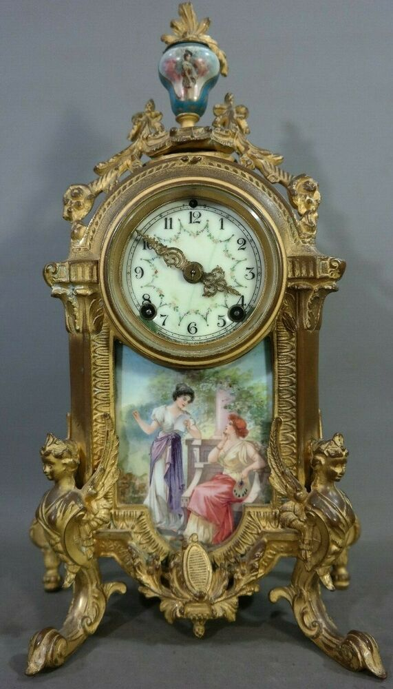 Antique Victorian Era French Type Winged Lady Bust Statue New Haven Mantel Clock Mantel Clock Clock French Mantel Clock