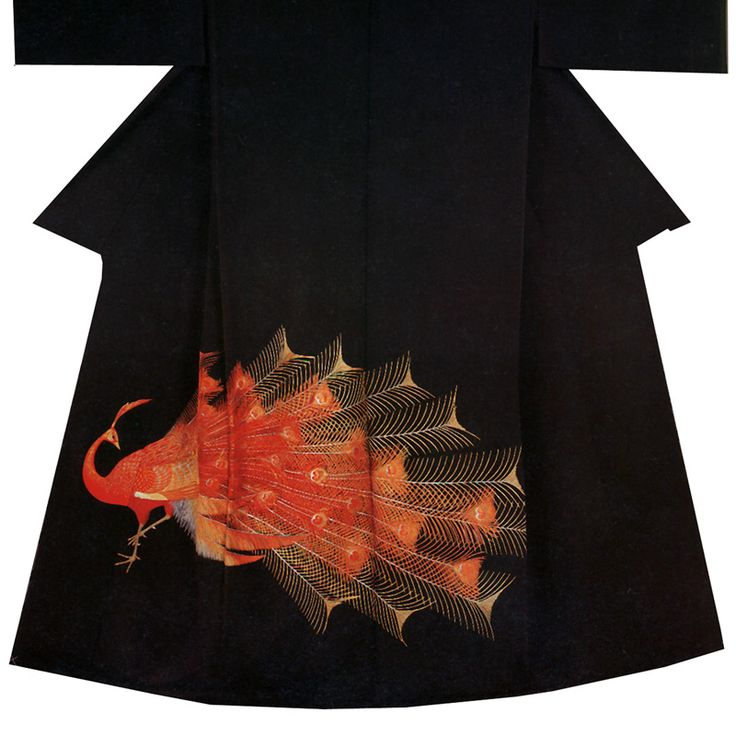 Japanese peacock decoration for kimono
