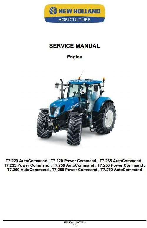Original Illustrated Factory Workshop Service Manual for New Holland Auto Command and Power Command Tractors T-Series. Original factory manuals for New Holland Trucks, contains high quality images, circuit diagrams and instructions to help you to operate, maintenance and repair your truck. All Manua