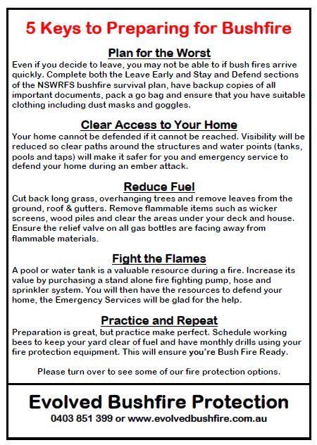A list of simple steps to preparing for bushfire season. www.evolvedbushfire.com.au