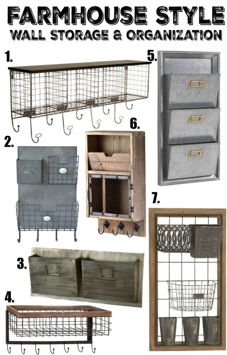 Farmhouse Style Wall Storage and Organization