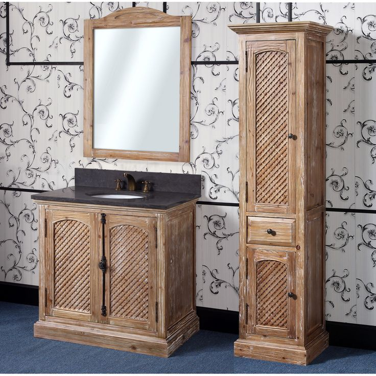 Abel 36 Inch Rustic Single Sink Bathroom Vanity Natural Oak Finish Solid Wood Construction