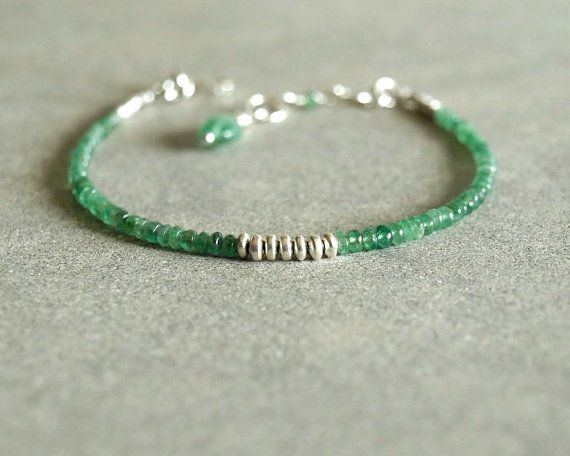 Small Emerald Bracelet with genuine emeralds, sterling, natural emeralds, tiny beads, precious gemstones, may birthstone emerald jewelry