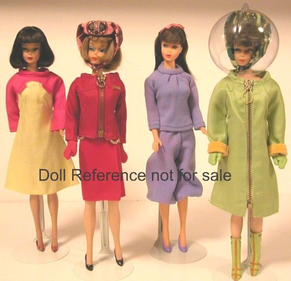 1967 Barbie Goes Braniff Montgomery Ward Gift Set Designed by Emilio Pucci Stewardess Hostess Outfits are; 1. Puccino Serving Dress in yellow and rose with shoes 2. Raspberry Suit with shoes, 3. Hostess Culottes in blue with shoes 4. Boarding Outfit in lime green with clear helmet with boots. These were made by Marx and are marked made in Hong Kong.