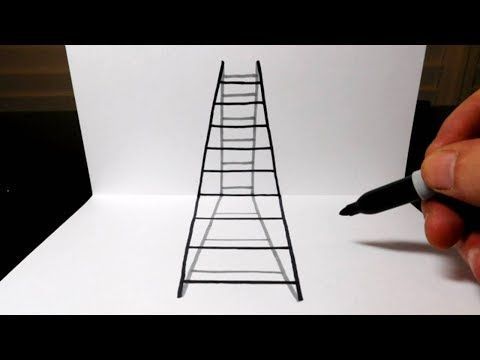 How to Draw a 3D Ladder in Perspective - Optical Illusion