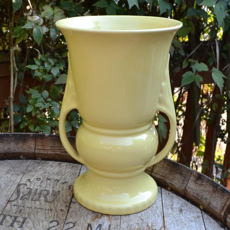 Abingdon 1940's Yellow Pottery Vase by silkcreekgallery on Etsy $50