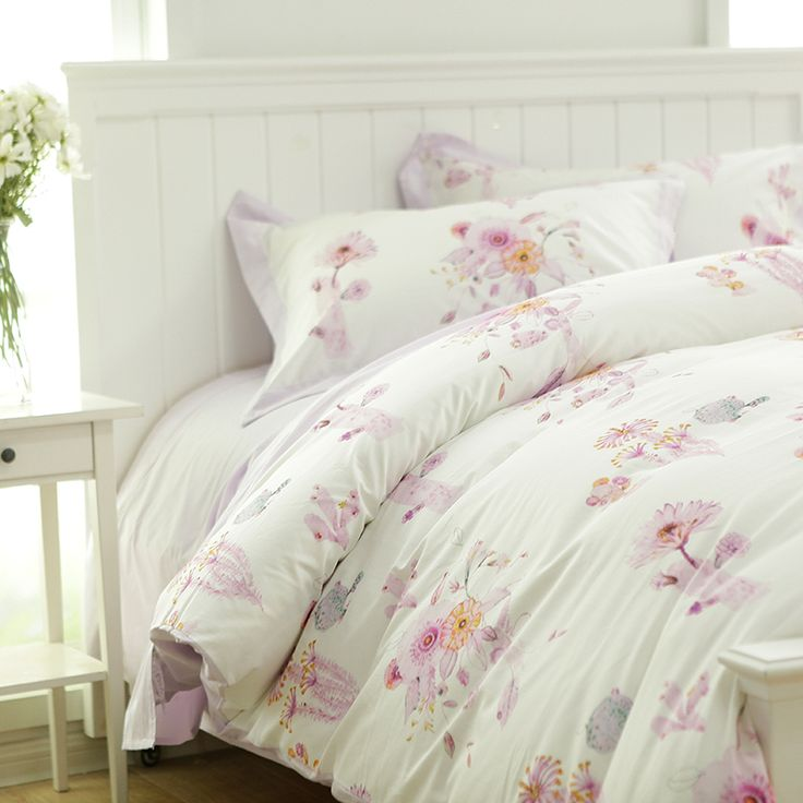 French rustic floral bedding set adult,full queen king plush cotton comfortable bedclothes flat sheets pillow case quilt cover