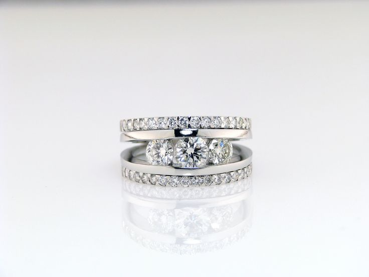 Handcrafted Diamond Trilogy semi tension Ring