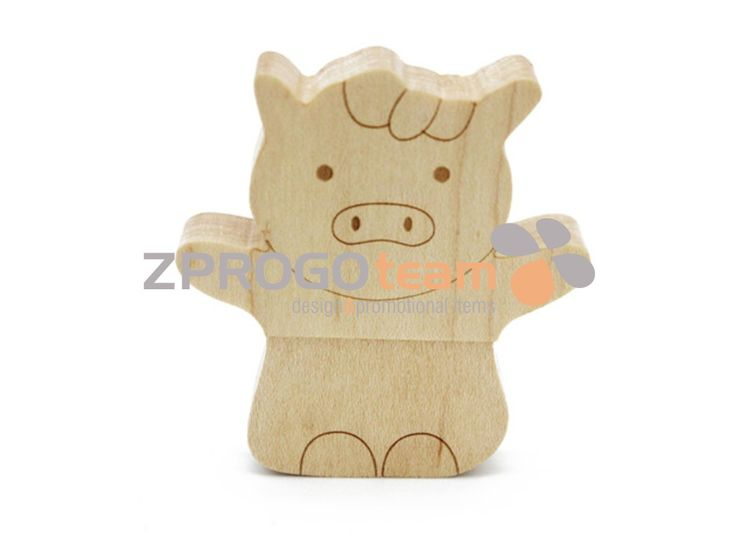 NEW: Promotional wooden USB flash drive design piggy.