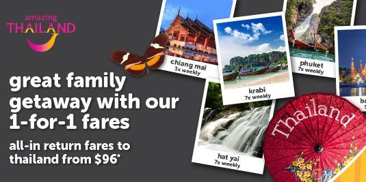 Tigerair Singapore Great Family Getaway 1-for-1 Fares Promotion ends 18 Sep 2016