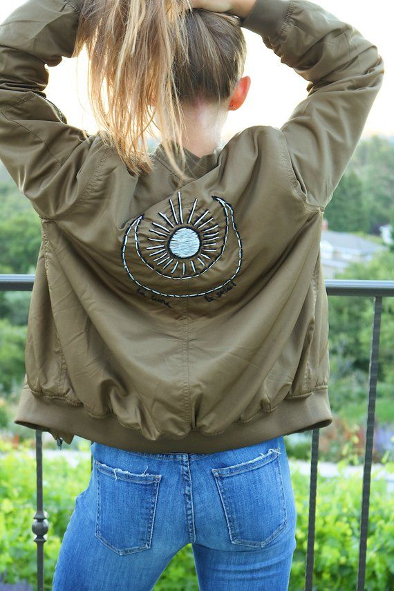 Moon and Sun Embroidered Fleece-Lined Bomber Jacket Olive