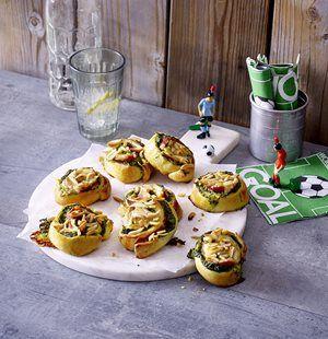 Spinat-Salami-Schnecken mit Raclette-Käse
