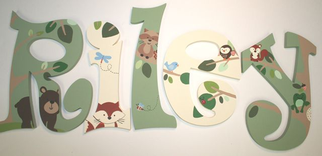 Woodland Animals Wall Letters-animal Wall Letters, Bear