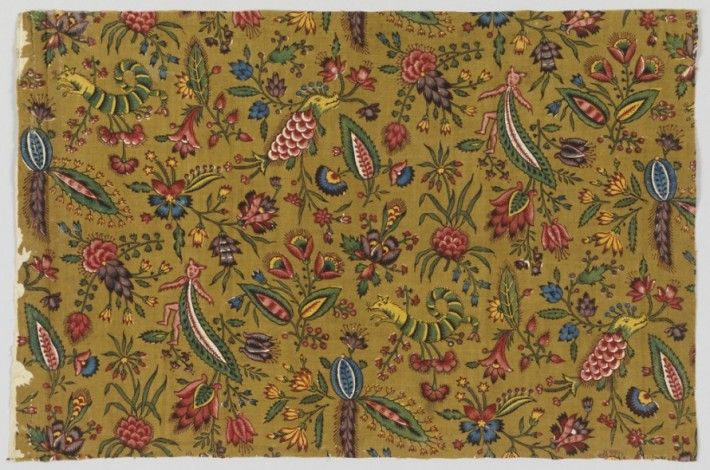 Textile: Les Coquecigrues. Designer unknown, manufactured by Oberkampf & Cie. ca. 1792. Gift of Josephine Howell.